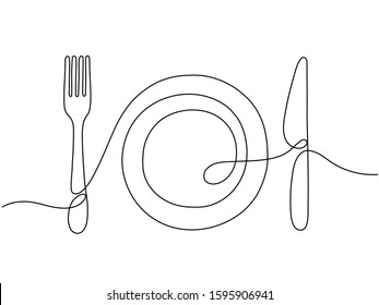 One line art. Plate knife, fork continuous outline drawing. Decoration for cafe or kitchen, restaurant or menu. Cutlery vector illustration