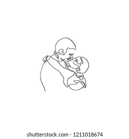 One line art of Scarlett and Rhett famous movie couple. Gone with the wind