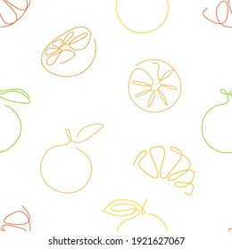 One line art style lemons seamless pattern. Abstract creative food in minimalism design. Hand drawn vector illustration.