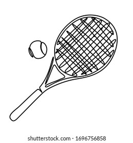One line art tennis racket and ball vector illustration
