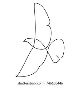 One line bird design silhouette.Hand drawn minimalism style vector illustration