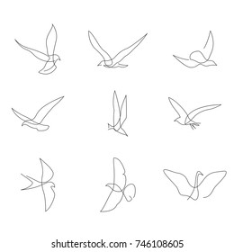 One line birds set. Hand drawn minimalism style vector illustration