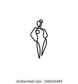 one line, body, woman icon. Element of woman in thin one line icon