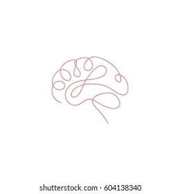One line brain design silhouette.Logo design. Hand drawn minimalism style vector illustration.