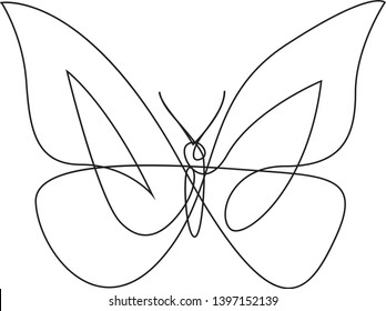 One line butterfly design silhouette. Hand drawn minimalism style vector illustration
