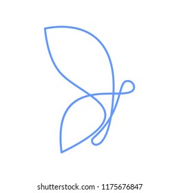 one line butterfly logo design vector template