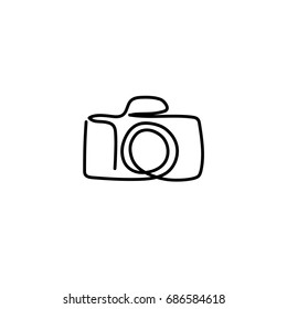 One line camera design. Hand drawn minimalism style vector illustration.