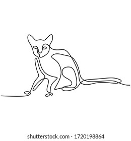 One line cat design silhouette. Wild cat sitting with long tail in abstract hand drawn minimalism style. Pet cartoon concept. Animal continuous line. Black and white vector illustration