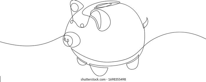 Einreihiges Keramikschwein. Einfache Vektorillustration im Minimalstil