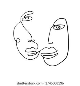 One line continuous line couple faces. Cubism face in abstract style. Black and white minimal design for modern poster, contemporary wall art decor, print for cloth.