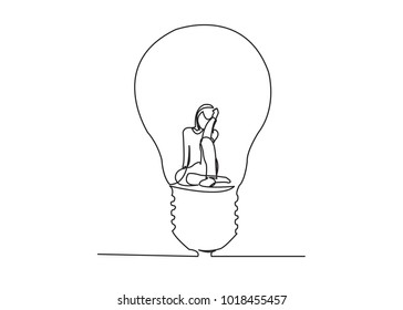 one line continuous draw woman with a light bulb, a man with a light bulb, a doctor with a lightbulb painted by hand picture silhouette. Line art. character woman male doctor, hand holding light bulb