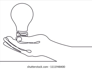 one line continuous draw woman with a light bulb, a man with a light bulb, a doctor with a lightbulb painted by hand picture silhouette. Line art.