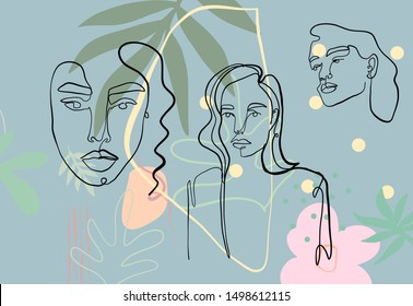 One line continuous woman portrait isolated on abstract background