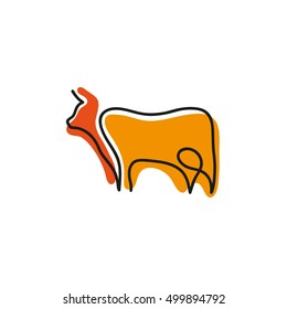 One line cow design silhouette.Hand drawn minimalism style vector illustration