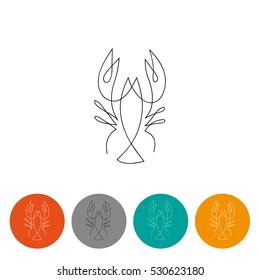 One line crayfish design silhouette. Logo design. Hand drawn minimalism style vector illustration.