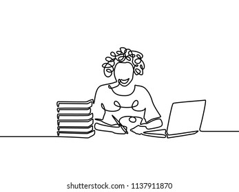 One line curly girl writing and study with help laptop. E-learning concept