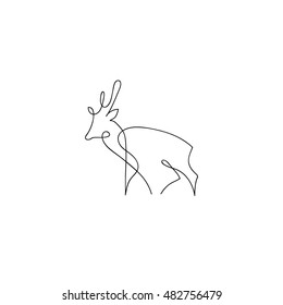 One line deer design silhouette. Hand drawn minimalism style vector illustration