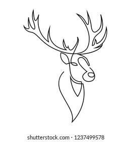 One Line Deer Images Stock Photos Vectors Shutterstock