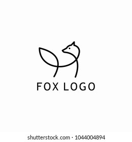 One line design silhouette of fox.Hand drawn minimalism style.Vector illustration