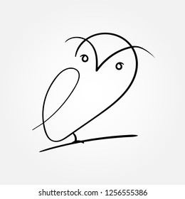 One line design silhouette of owl.hand drawn minimalism style.vector illustration - Vector