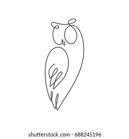 One line design silhouette of  owl.hand drawn minimalism style.vector illustration
