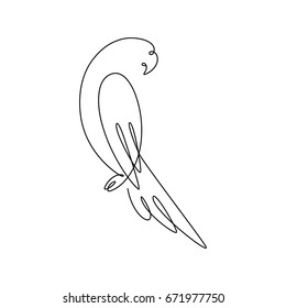 One line design silhouette of parrot.hand drawn minimalism style.vector illustration