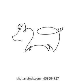 One line design silhouette of pig.minimalistic style vector illustration