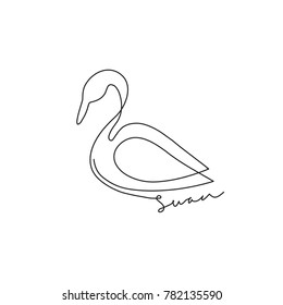 One line design silhouette of swan. Minimalism style vector illustration