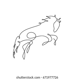 One line design silhouette of wild horse.hand drawn minimalism style.vector illustration
