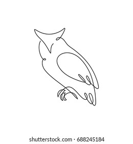 One line design silhouette of wise owl.hand drawn minimalism style.vector illustration