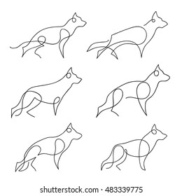 One line dog design silhouette set. German Shepherd. Hand drawn minimalism style vector illustration