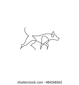 One line dog design silhouette. Hand drawn minimalism style vector illustration