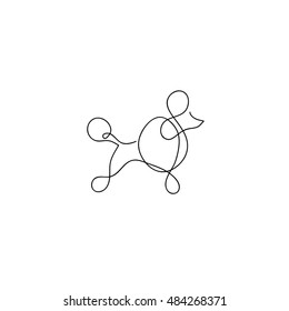 One line dog poodle design silhouette. Hand drawn minimalism style vector illustration
