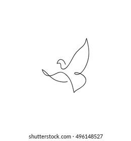 One line dove flies design silhouette.Hand drawn minimalism style vector illustration