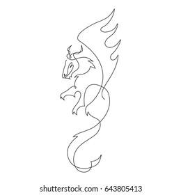 one line dragon design silhouettehand drawn minimalism style vector illustration - Dragon Outline