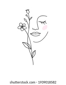 One line drawing. Abstract beautiful girl with flower. Female beauty icon. Natural cosmetics concept. Vector illustration.