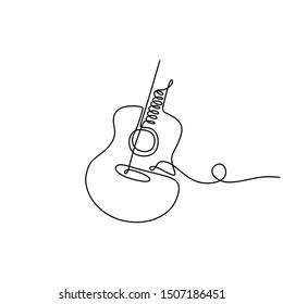 one line drawing acoustic guitar music instrument vector illustration minimalist design