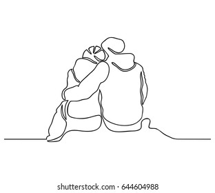 One line drawing. Back view of young happy couple sitting and looking in the same direction.