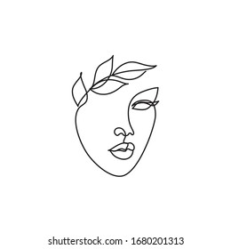 One Line drawing of beauty woman face with leaves, Continuous line head in a laurel wreath. Abstract minimal face. Vector illustration logo for organic cosmetics, beauty salon, spa