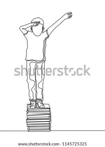 one line drawing boy standing book stock vector royalty free