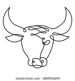 One line drawing bull's head. Continuous line art of Bull. Symbol of 2021 new year.