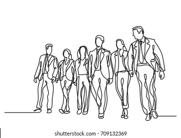 one line drawing of business team walking