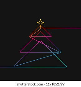 One line drawing of christmas tree, Rainbow colors on black background vector minimalistic linear illustration made of continuous line