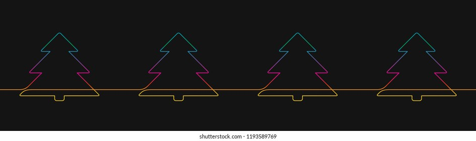 One line drawing of christmas tree decorative seamless border, Rainbow colors on black background vector minimalistic linear illustration made of continuous line