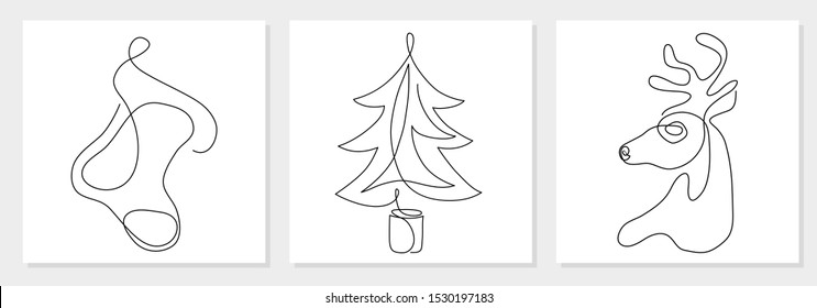 One line drawing Christmas tree, reindeer head, stocking. Modern continuous line art, aesthetic contour. Collection of xmas symbols for greeting card, prints, poster, sticker, banner, invites. Vector