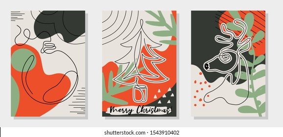 One line drawing Christmas tree, reindeer head, ball decoration. Modern continuous line art, aesthetic contour. Set of three Merry Christmas cards, creative collage style. Vector illustration