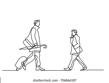 one line drawing of commuters passing by