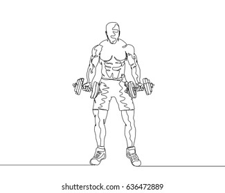 One Line Drawing or Continuous Line Art of a Strong Athletic Guy Lifting Weights and  Bodybuilder Training. Vector Illustration