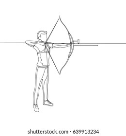 One Line Drawing or Continuous Line Art of a Archery Athlete. Vector Illustration