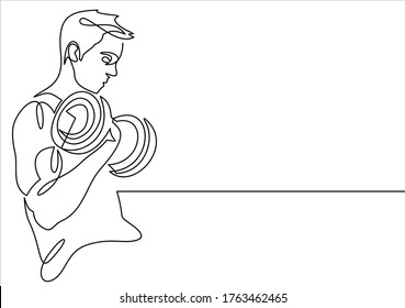 One Line Drawing or Continuous Line  Athletic Guy Lifting Weights and Bodybuilder Training. Vector Illustration